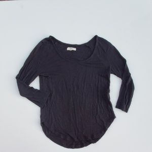 Madewell// Black 3/4 Sleeve Heathered Top
